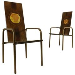 Two Chairs by Bartoli and Del Pezzo for Rossi Burl Veneer Metal Vintage, 1980s