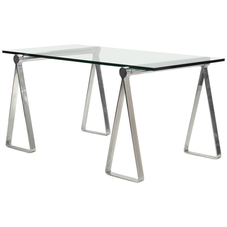 """1970s Aluminum """"Sawhorse"""" Table or Desk For Sale"""