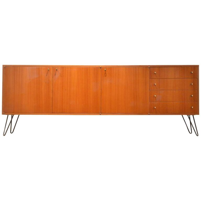 Xl mid century modern french design glossy mahogany for Sideboard xl