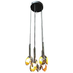 Five Lights Modern Design Chandelier Chromed and Painted Metal, 1960s
