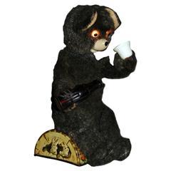 Coke Drinking Tin Plate and Plush Automaton Teddy Bear