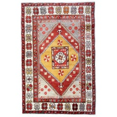 Antique Rugs, Turkish Rug with Yellow Rug Background from Milas