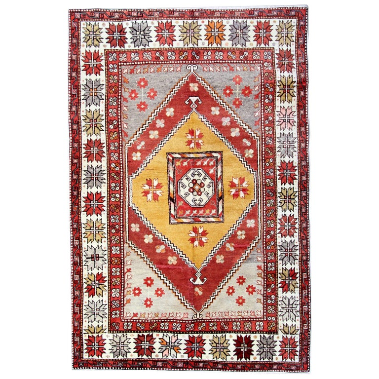 Antique Rugs, Turkish Rug with Yellow Rug Background from Milas  For Sale