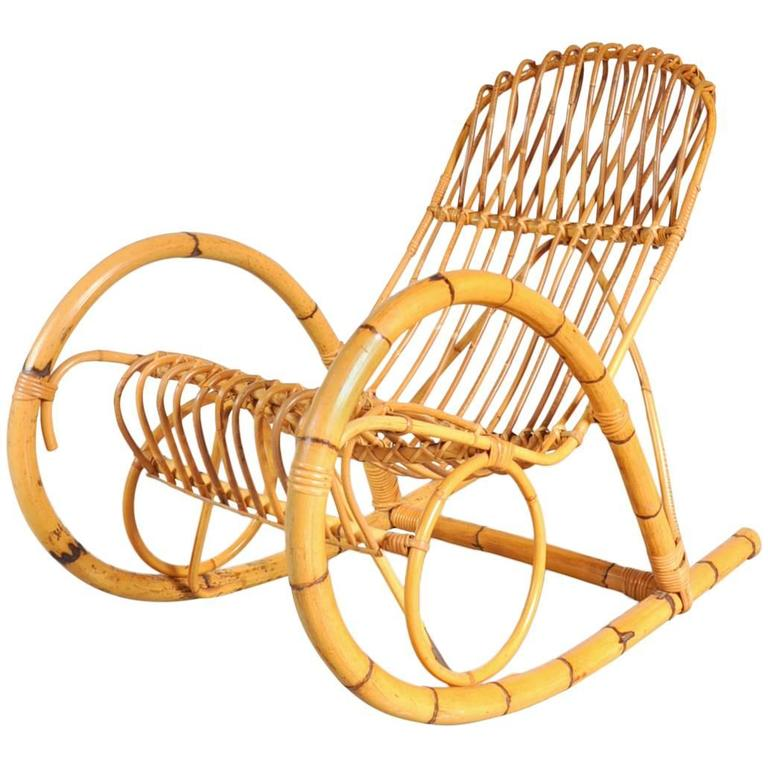 Beau Rattan Rocking Chair In The Style Of Franco Albini, Italy, Circa 1950 For  Sale
