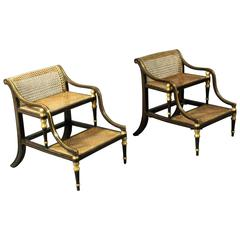 Rare Pair of Regency Bed Steps