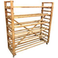 Industrial Pine Wooden Baker´s Rack, Belgium, 1930