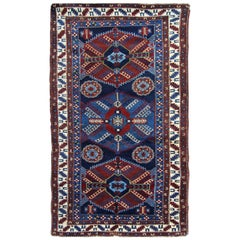 Antique Rugs Caucasian Kazak Rug, Handmade Carpet Blue Oriental Rug for Sale