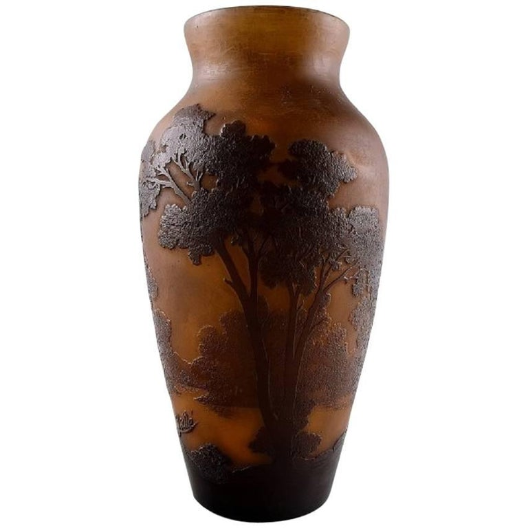 Emile Gallé Art Glass Vase, France, circa 1900, Decorated with Trees For Sale