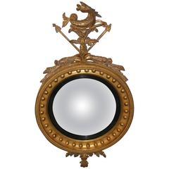 Regency Wood Carved and Gilt Convex Mirror, circa 1820