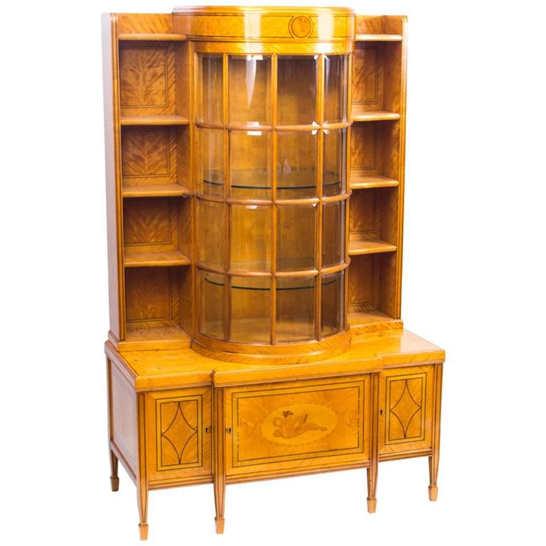 19th Century Late Victorian Satinwood Display Cabinet For Sale