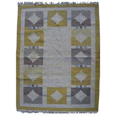 Rölakan Carpet with Geometric Pattern in Yellow and Brown Tones Mid-20th Century
