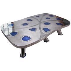 Coffee Table Lunar, Etched Metal, Fractal Resin by Arriau