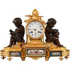 Napoleon III Bronze and Porcelain Mantel Clock in Louis XVI Style, 19th Century