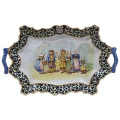 19th Century French Porquier-Beau Quimper Hand-Painted Platter with Handles