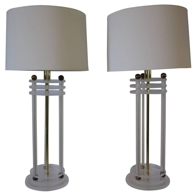 Brass and Lucite Column Table Lamps