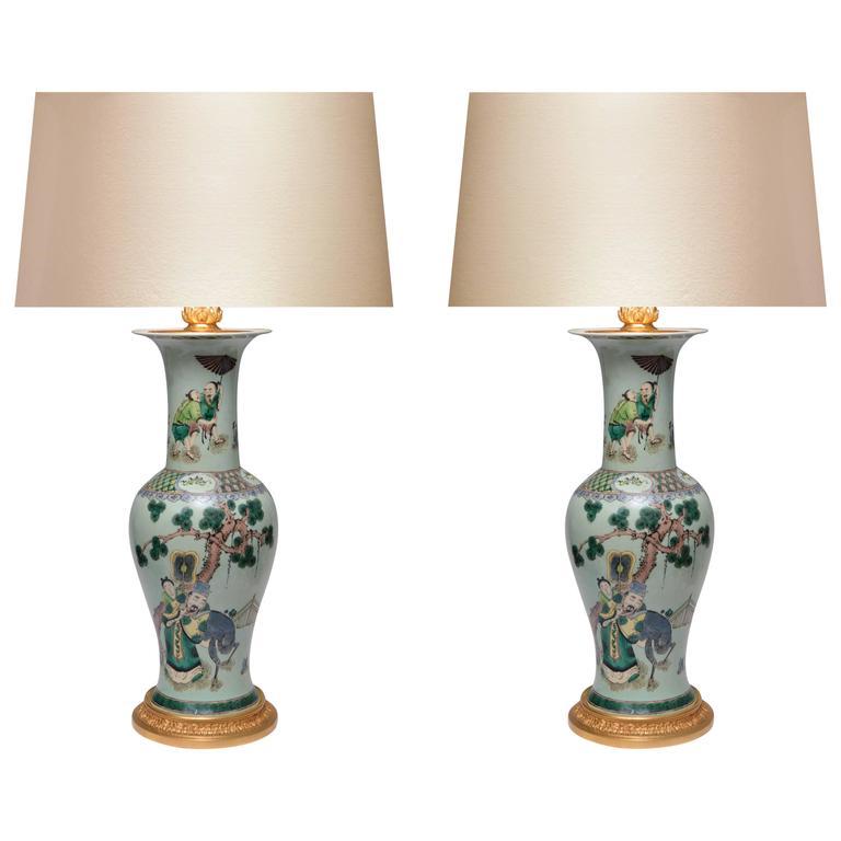 Pair of Famille Vert Porcelain Lamps