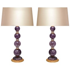 Pair of Ormolu-Mounted Amethyst Rock Crystal Quartz Lamps