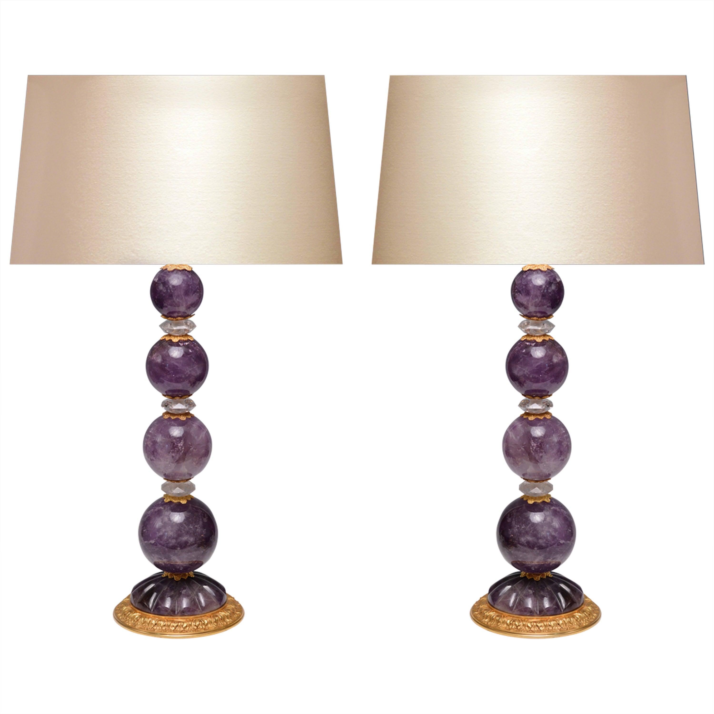 Pair of Ormolu-Mounted Amethyst Rock Crystal Quartz Lamps