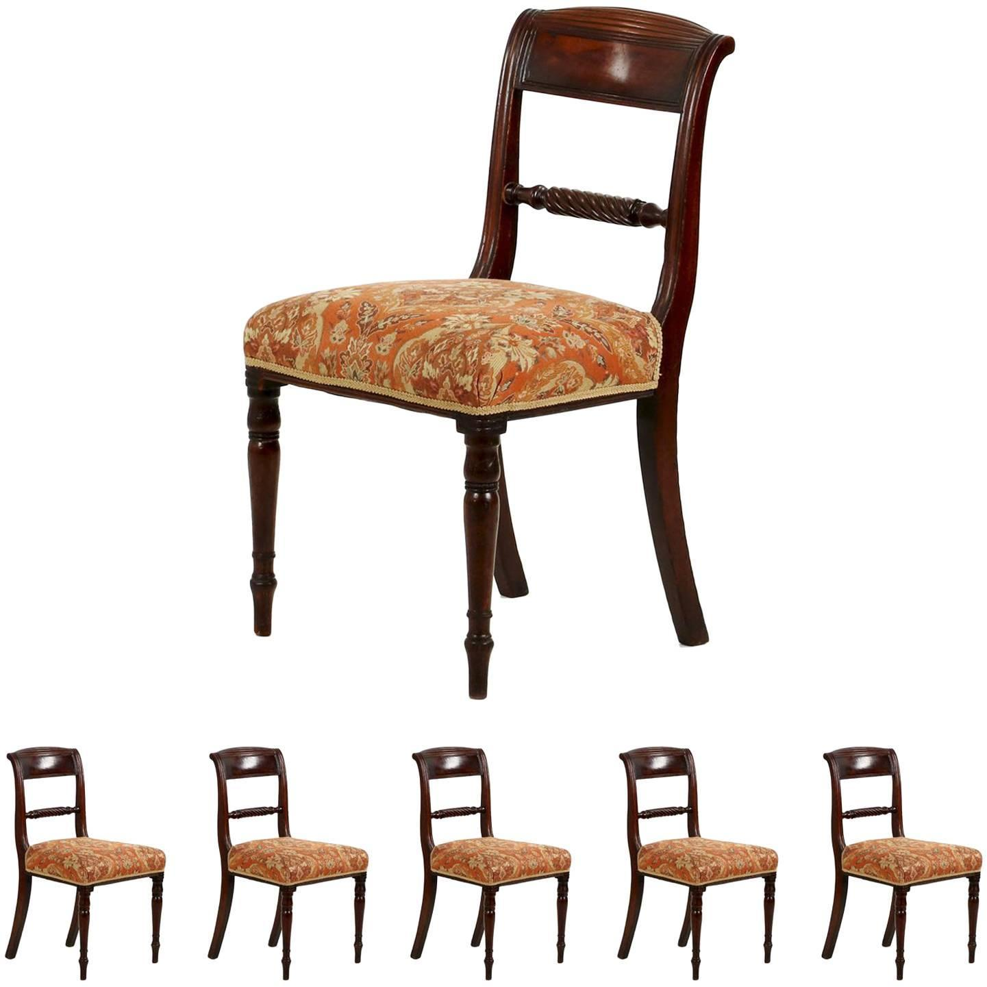 Set Of Six Regency Antique Mahogany Dining Chairs