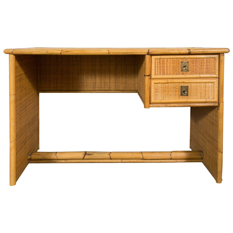 Bamboo and Wicker/Rattan Desk, Italy, 1960 For Sale
