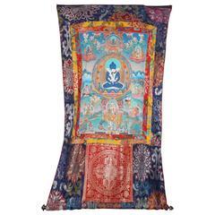 Hand-Painted on Silk Thankha, Modern, Tibet/China