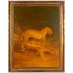 Contemporary Oil on Canvas Study of Jaguars