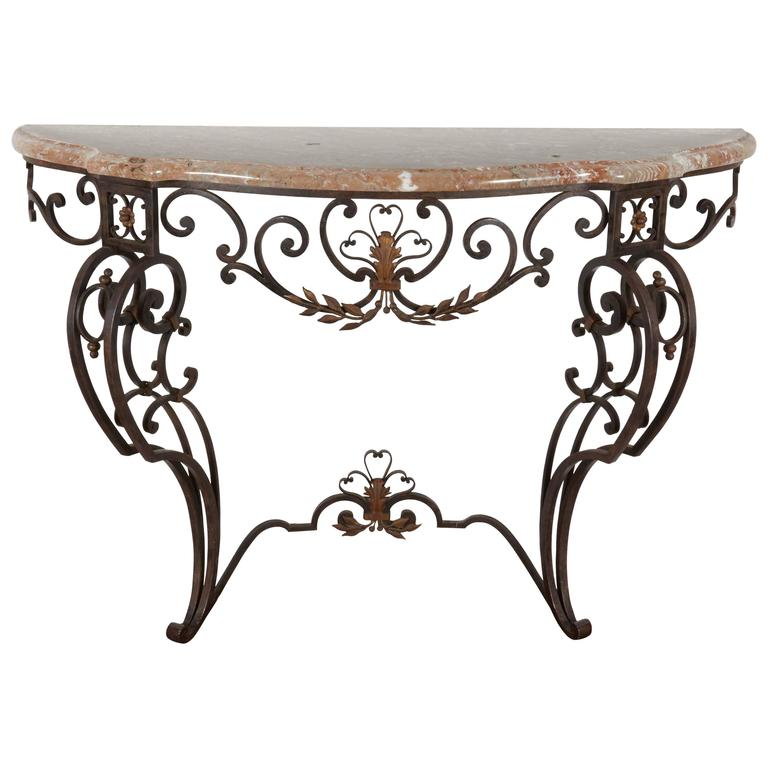 Iron and Marble-Top Demilune Console For Sale