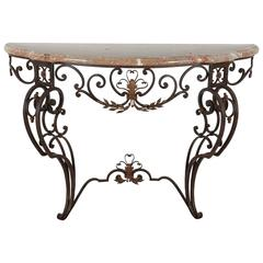 Iron and Marble-Top Demilune Console
