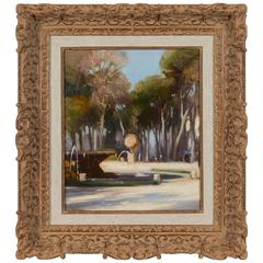 Oil on Canvas Fountain in the Park