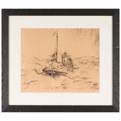 Vessel at Sea by Johan Hendrik van Mastenbroek