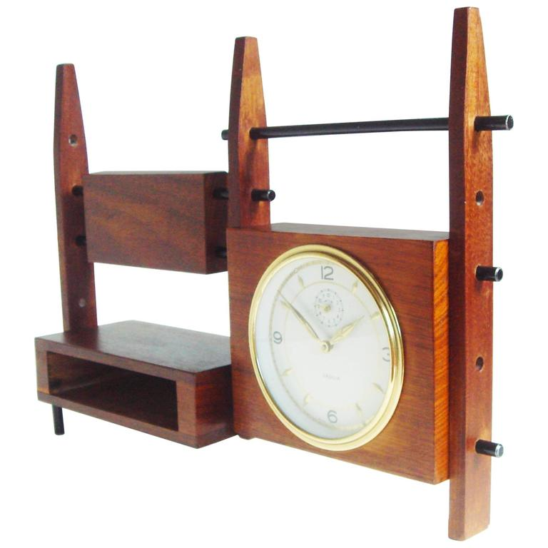 Italian Mid-Century Teak, Rosewood and Black Metal Veglia Mechanical Alarm Clock For Sale