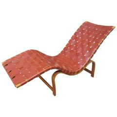 Bruno Mathsson Chaise Longue in Leather