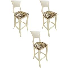 Set of Three Lacquered Bar Stools