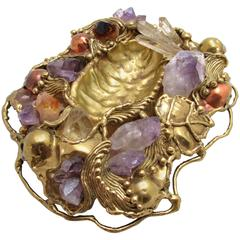 Amethyst and Quartz Encrusted Brass Dish