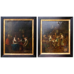 Pair of Paintings, Flemish Artist, 18th Century
