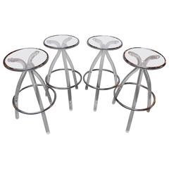 Set of Four Lucite and Chrome Bar Stools by Hill Manufacturing
