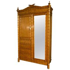 Aesthetic Movement Maple Faux Bamboo Armoire Attributed to R. J. Horner & Co.