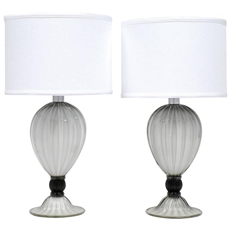 "Pair of Murano ""Incamiciato"" Gray Glass Table Lamps"