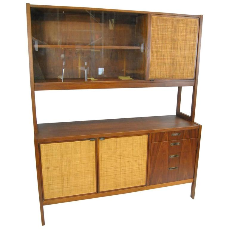 Beau Mid Century Danish Modern Rosewood China Cabinet With Cane Door Fronts For  Sale