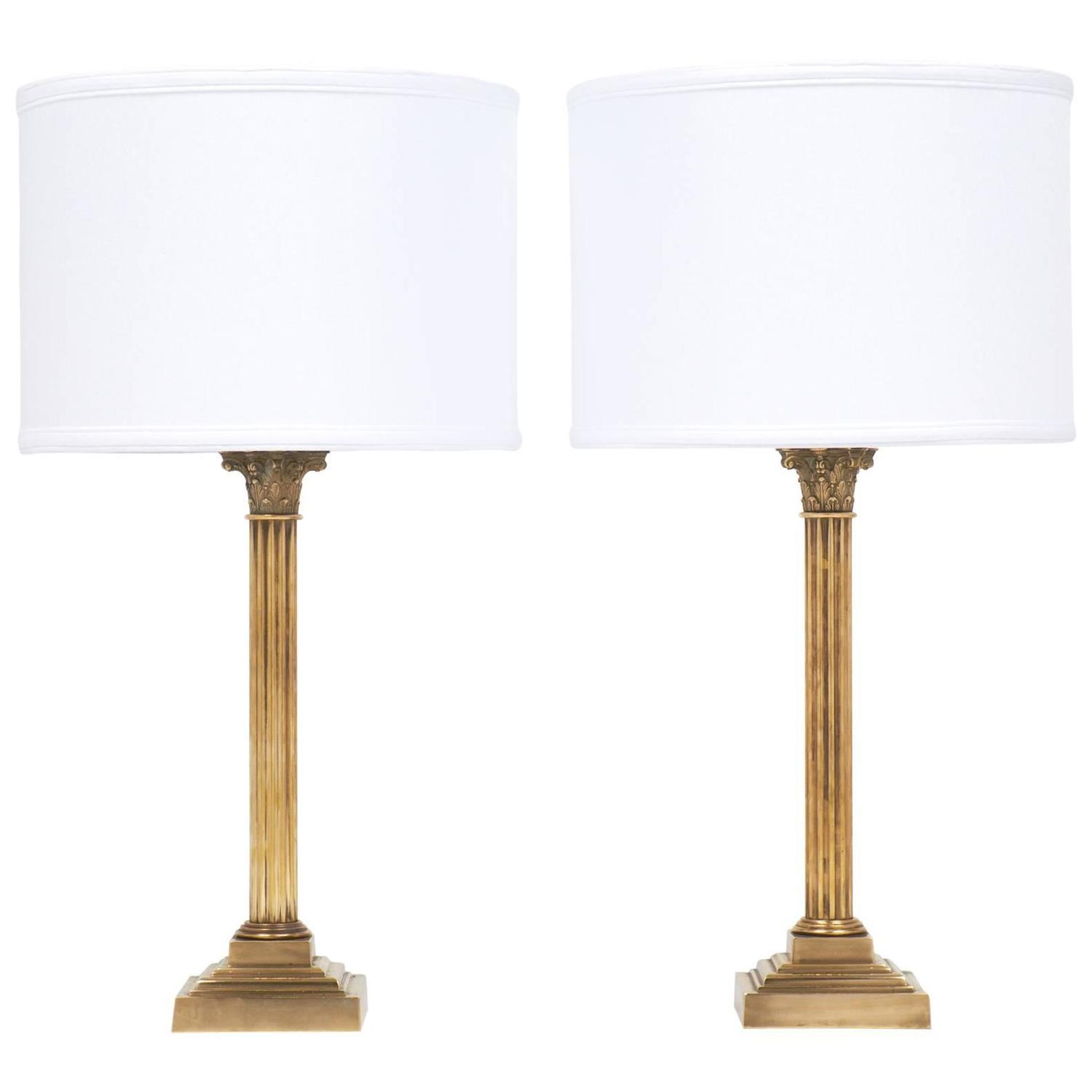 Vintage pair of brass corinthian column lamps at 1stdibs geotapseo Choice Image