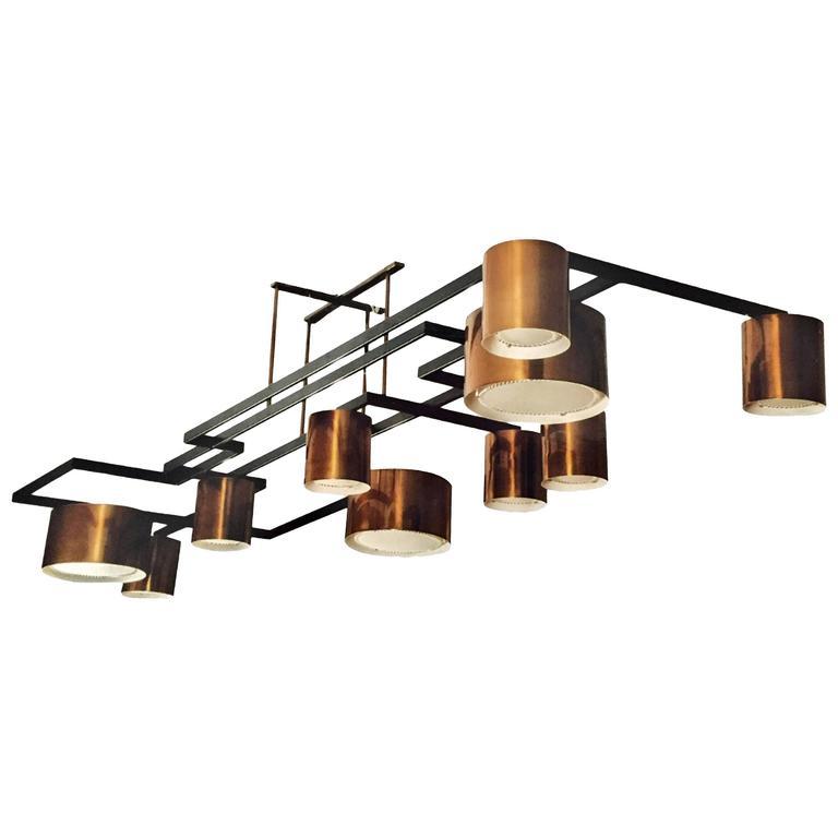 Enormous Ten-Light Ceiling Fixture Chandelier by Diego Mardegan  1