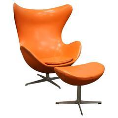 Arne Jacobsen, Orange Egg Chair and Ottoman