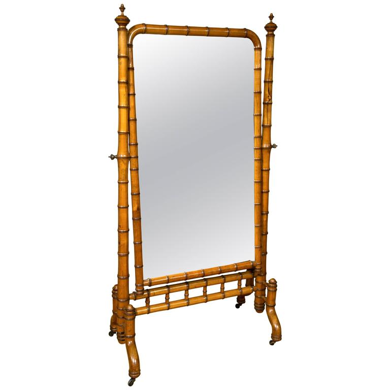 Victorian Era Aesthetic Movement Faux Bamboo Cheval Mirror