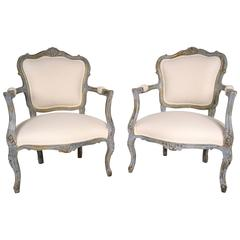 Pair of Late 19th Century French Gilt Painted Bergère Chairs