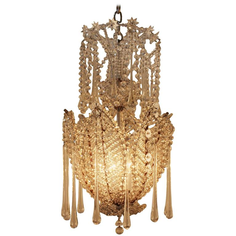 French Mid Century Crystal Chandelier At 1stdibs