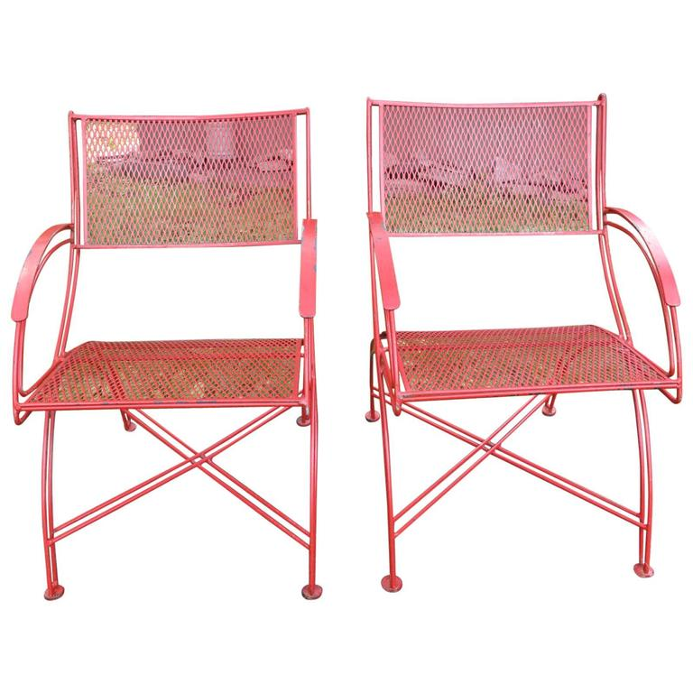 Pair of Mid Century Red Outdoor Chairs at 1stdibs