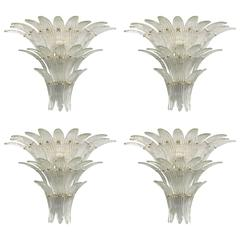 Set of Four Murano Three-Tier Clear Palmette Sconces by Venini