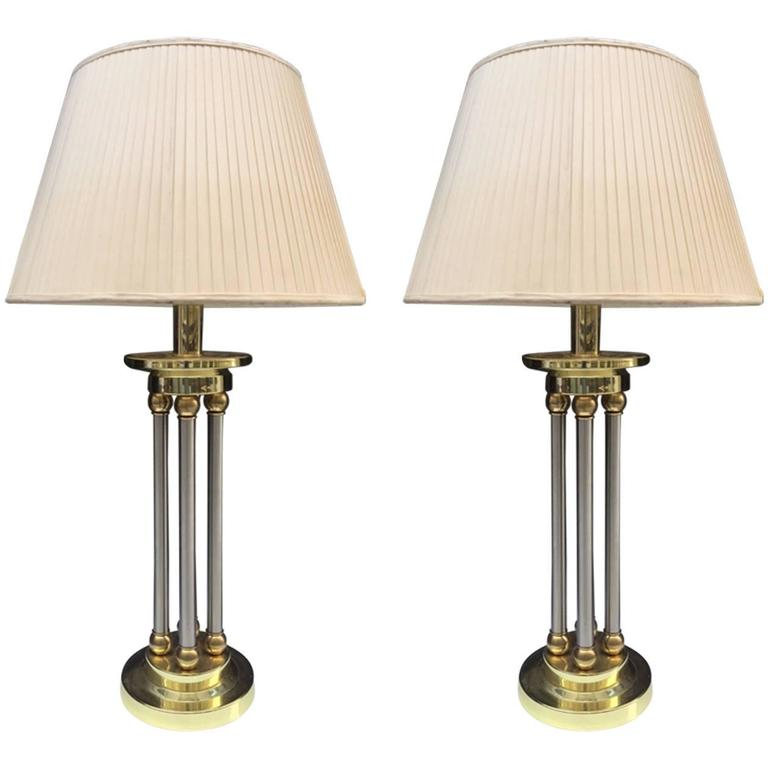 Pair of Neoclassical Style Brass and Chrome Column Lamps