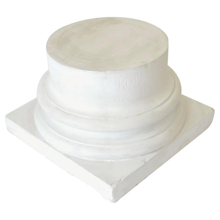 Vintage Late 19th Century French White Plaster Ionic Column Base For Sale