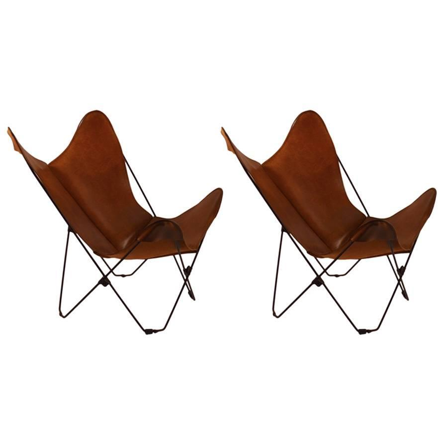 Pair of Hardoy Style Folding Leather Butterfly Chairs For Sale at 1stdibs